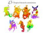 5pounds Tropical themed commissions by ClaraBacou