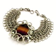 Chainmaille Bracelet with Rainbow Fluorite by hyppiechic