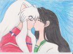 Inuyasha and Kagome: first kiss by MultiRagnell