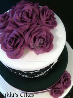 50th Birthday Purple Damask Cake 3 by Corpse-Queen