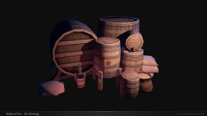 Medieval Inn Barrels by Texelion