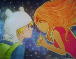 Finn and Flame Princess by MarcelaUrena