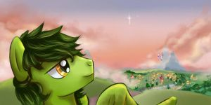 Green at sunset on Ponyville by SupCapn