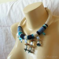 Blue Necklace - collar 1271 by AmberSculpture