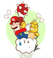 Mario vs Lakitu by MKDrawings