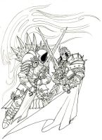 Tyrael vs. Arthas Tattoo Line Art by JRinaldi