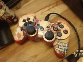 Grand Theft Auto V Red PS3 Controller + Stickers by DOM098652