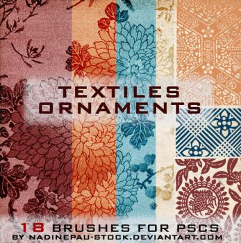 textiles ornaments- 18 brushes by NadinePau-stock