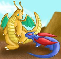 Dragonite VS Salamece by armaina