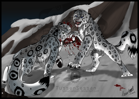 Snow Leopard Fight by tussensessan