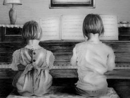 Girls at Piano by S-A--K-I