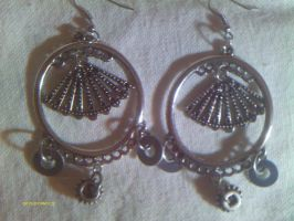 Steampunk filigree fan earring by stardove3