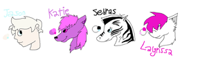 Jason, Katie, Sebras, and Layrissa ref sheets by Helkie-three