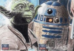 Star Wars G7 - Yoda and R2-D2 Sketch Art Card 2pc by DenaeFrazierStudios