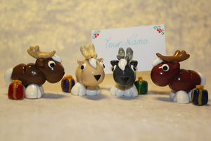 COMMISSION - Pack of 4 Reindeer Nametag Holders by AnimalisCreations