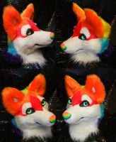Rainbow Husky head SOLD by DrakonicKnight