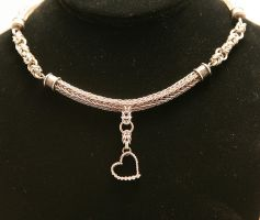 Sterling Silver Viking Knit Chainmaille neckalce by ArmouredWolf907