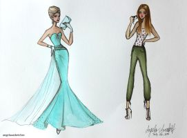 Summer Vacation Fashion Sketches 1 by angelaaasketches