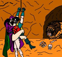 Robin trapped in the cave of Catwoman by holybearhug
