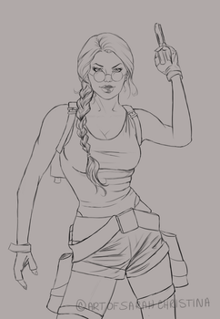 'Just Lovely.' - 20 Years of Tomb Raider (Lineart) by Forty-Fathoms