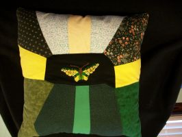 Handmade Custom Butterfly Patchwork Pillow by grandmoonma