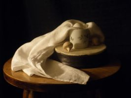 Cloth still life with egg and mushrooms by Amai-Rose