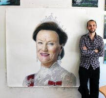 Queen Sonja of Norway Large Pencil Drawing by AtomiccircuS
