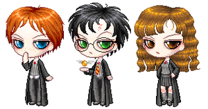 Harry Ron and Hermione by phoenix1784