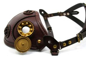 Steampunk mask brown with brass smoking vent 2 by AmbassadorMann