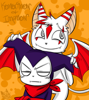 .Impmon and Komorimon. by PatchworkedHeart