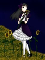 Eva in a sunflower field by LaZella