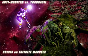Anti-Monitor vs. Yggdrasil by PatchMadripoor