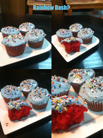 Rainbow Dash Cupcakes by yagyag