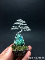 Silver root-over-rock wire bonsai tree by Ken To by KenToArt