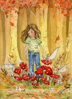 ACEO Girl in Fairy Ring by JoannaBromley