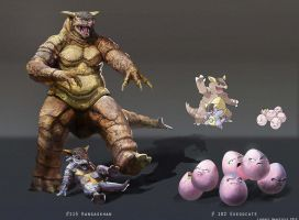 Pokemon: Kangaskhan and Exeggcute by LindseyWArt