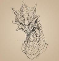 Frilled Dragon bust sketch by drakoncast