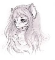 Krystal with long hair..sketch by shiroiwolf
