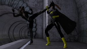 Ivy95 does Catwoman and Batgirl by afwfan-2