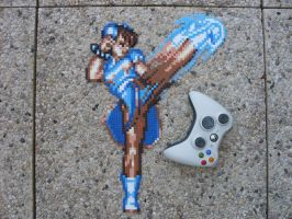 Super Street Fighter II Chun Li Perler Bead Sprite by BigBossFF