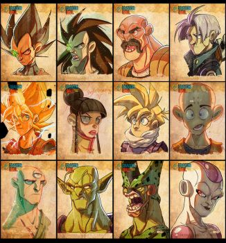 Dragon Ball Face Sketches by Javas
