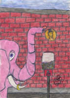 Pink Elephant Wants A Gumball by bengjie