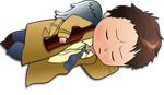 Sleeping chibi Cas by WildBara
