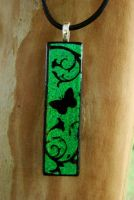 My Garden Fused Glass Pendant by FusedElegance