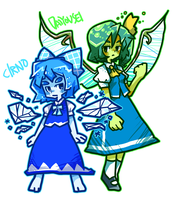 Cirno and Dai-chan by Cindysuke