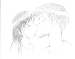 my first DRAWING of a kiss by vienna2000
