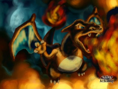 Dracaufeu / Charizard ( with background ) by marianne41