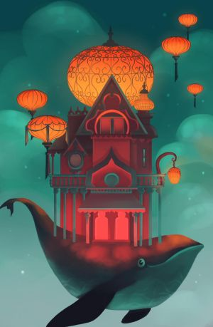 Flying House by ApollinArt