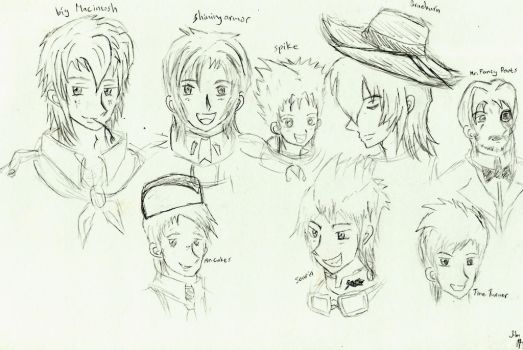 old doodle (humanized male ponies) by JigokuRaida