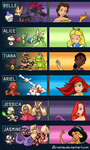 Disney Princesses as Pokemon Gym Leaders by Nelde